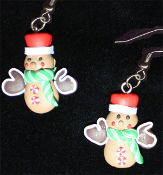 Funky GINGERBREAD MAN MITTENS EARRINGS - Christmas Cookie Dessert Jewelry