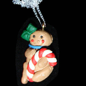 GINGERBREAD MAN NECKLACE-CANDY CANE-Holiday Cookies Food Jewelry