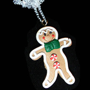 GINGERBREAD MAN PENDANT NECKLACE-BOY-Holiday Cookie Food Jewelry