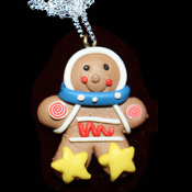 GINGERBREAD MAN STAR NECKLACE-Holiday Cookie Food Funky Jewelry