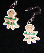 Funky GINGERBREAD MAN TREE EARRINGS - Christmas Cookie Dessert Jewelry