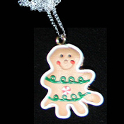 GINGERBREAD MAN TREE NECKLACE-Holiday Cookie Food Funky Jewelry