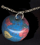 Funky Dimensional Mini WORLD GLOBE PENDANT NECKLACE-Pilot, Teacher, Tourist, Travel Agent Costume Jewelry-Colorful realistic enameled metal toy sphere charm on neck chain. Fun 3-D hollow round blue miniature Planet Earth with detailed readable atlas!