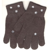 Washable Women Girls Rhinestone Winter Dress MAGIC-Stretch GLOVES -BLACK- Rhinestone shapes and colors may vary.