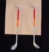 GOLF CLUBS EARRINGS - Miniature Toy Sports Vending Charm Jewelry - Great distraction strategy for any golfer!