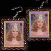 HUGE Funky Wizard of Oz - the GOOD WITCH GLINDA EARRINGS - Witch-of-the-North Munchkins Queen Novelty Costume Jewelry - BIG clear pink glitter plastic frame toy Billie Burke photo image charms. Follow-the-Yellow-Brick-Road to the Emerald City!