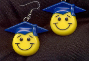 SMILE FACE GRADUATION CAP EARRINGS - HUGE Retro Smiley School Teacher Student Graduate Gift Jewelry -ROYAL BLUE