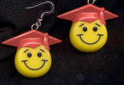 Big SMILE FACE GRADUATION CAP EARRINGS - Retro Smiley School Teacher Student Graduate Gift Jewelry - RED