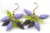 GRAPES BUNCH with Leaves EARRINGS - Vintage Plastic Fruit Beads - Wine Tasting - Luau Jewelry - Tiny