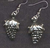 Mini GRAPES EARRINGS - Wine Winery Bartender Chef Novelty Jewelry - Silver-tone metal charm