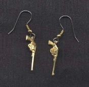 Vintage Brass GUNS PISTOLS EARRINGS - Punk Biker Cop Police Sheriff Jewelry