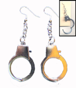 Big HANDCUFFS EARRINGS - Wedding Gag Gift Metal Punk Jewelry