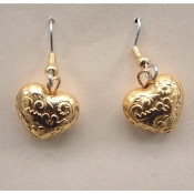 Vintage HEART EARRINGS - Valentines Day Gift Jewelry - Puffy Gold Metal Bead