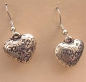 Vintage Puffy HEART EARRINGS - Antiqued Silver Metallic Charm Jewelry