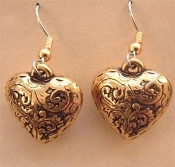 Vintage HEART EARRINGS - Valentines Day Gift Jewelry - Puffy Antiqued Gold-tone Charm