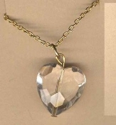 HEART NECKLACE PENDANT-Faceted Faux CRYSTAL Love Charm Jewelry