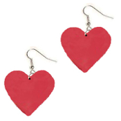 HUGE Lucky Charm Red HEART PLAYING CARD SUIT EARRINGS - BlackJack Poker Luck Jewelry