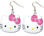 HELLO KITTY DANGLE EARRINGS - Collectible TV Cartoon Cat Jewelry - HUGE