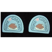 HOME COOKING BUTTON EARRINGS - Cook Chef Hand-Painted WOOD Jewelry