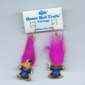 Mini Graduate HONOR ROLL TROLL DOLL EARRINGS - Tiny retro funky punk Teacher Graduation novelty costume jewelry - Purple MAGENTA Hair - Miniature vintage Russ Berrie lucky charm in Royal BLUE Cap and Gown.