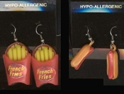 HOT-DOG & FRIES EARRINGS - American Fast Food Restaurant - USA Vintage-look Vending Charm Jewelry - 2- pair SET