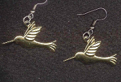 HUMMINGBIRD EARRINGS - Cute Spring Easter Garden Bird Brass Charm Jewelry