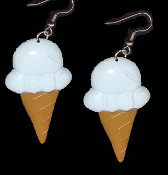 BIG White VANILLA ICE CREAM CONE EARRINGS - Dairy Dessert Fast-Food Restaurant Jewelry