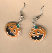 HAPPY JACK-O-LANTERN EARRINGS - Enamel Halloween Pumpkin Trick-or-Treat Costume Party Jewelry