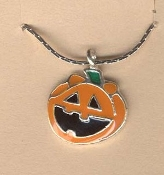 JACK-O-LANTERN PENDANT NECKLACE-Halloween Pumpkin Jewelry-HAPPY