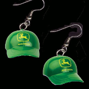 Huge Dimensional JOHN DEERE HAT CAP LOGO EARRINGS - Licensed Mini Farmer Charm Jewelry