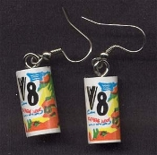 V8 - VEGETABLE JUICE CAN EARRINGS - Mini Health Food Drink Novelty Charm Jewelry