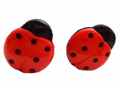 Lucky LADY BUG BUTTON EARRINGS - Ladybug Garden Insect Luck Charm Jewelry -LARGE