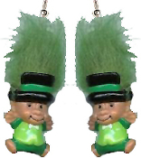 Mini collectible TROLL DOLL LEPRECHAUN EARRINGS - Big retro funky punk St Patrick's Day holiday novelty costume jewelry - KELLY GREEN Hair - Miniature vintage Irish lucky charm toy gnome.