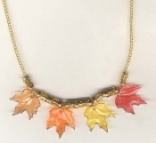 MAPLE LEAF LEAVES NECKLACE-Thanksgiving Holiday Canada Jewelry