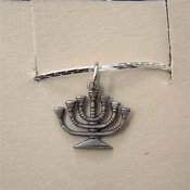 MENORAH KINARA Religious Themed Candelabra PENDANT NECKLACE - Jewish Judaica Hebrew Hanukkah Chanukah - African American Festival Kwanzaa - Charm Costume Jewelry