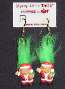 Mini collectible MERRY LITTLE SANTA TROLL DOLL EARRINGS - Tiny retro funky punk Christmas holiday novelty costume jewelry - GREEN Hair - Miniature vintage Russ Berrie retired little lucky charm toy gnome in red suit and cap.