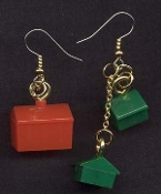 Authentic MONOPOLY HOTEL & HOUSE EARRINGS - Novelty Charm Game Pieces Jewelry