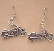 MOTORCYCLE PEWTER EARRINGS - Funky Chopper Biker Cycle Charm Jewelry -A- Great for Harley fans!