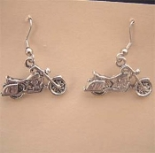 MOTORCYCLE PEWTER EARRINGS - Funky Chopper Biker Cycle Charm Jewelry -B- Great for Harley fans!