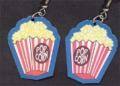 Big Funky POPPED POPCORN EARRINGS - Junk Snack Food Box Movie Theater Novelty Charm Costume Jewelry - Extremely lightweight double-sided colorful detailed flat flexible plastic charms. Great fashion to wear on Family Home Movies or Date Night!