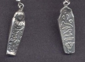 MUMMY COFFIN AMULET PENDANT NECKLACE-VINTAGE Sarcophagus Egyptian Tomb Egypt Novelty Charm Jewelry-Pewter Metal Alloy DOUBLE-SIDE Charm. Unique gift for Indiana Jones fan, History Teacher, Museum Collector, Archeologist, Anthropologist, Egyptologist.