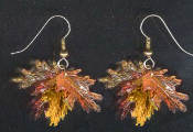 OAK LEAF LEAVES EARRINGS Thanksgiving Jewelry - Fall Harvest Color Acorn Tree Jewelry