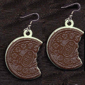 HUGE Vintage Vending OREO COOKIE EARRINGS - Funky Food Charm Jewelry