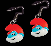 Huge PAPA SMURF FACE EARRINGS - TV Movie Character Jewelry