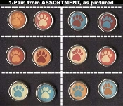 PAW PRINT BUTTON STUD EARRINGS - Bear Dog Puppy Animal Tracks Jewelry -1-Pair