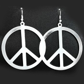 Funky HUGE PEACE SIGN SYMBOL EARRINGS - Vintage 60's-70's Retro Hippie Hippy Costume Jewelry -SILVER tone Metal