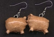 PIG EARRINGS - Tiny 3D Country Farm Animal Miniature Jewelry - Mini resin figure