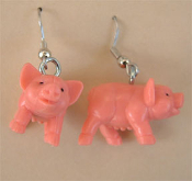Funky Mini PIGGY PIG EARRINGS - Funny Mini BABE Porky Farm Animal Charm DIET Costume Jewelry - Cute miniature rubbery Pink Plastic toy charm PORKER. Great for farmers, bacon lovers, BBQ cookout picnic party or backyard Pig Roast!