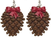 Big 3-d PINE CONE EARRINGS - Winter Party Costume Jewelry
