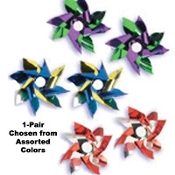 PINWHEELS BUTTON POST EARRINGS - Nostalgic Carnival Wind Toy - Retro Play Charm Jewelry - REALLY SPINS!!!